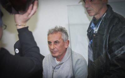 Yehuda Ben-Hamo, le maire de Kfar Saba, a comparu devant le tribunal de Rishon Lezion le 13 février 2017, après avoir été arrêté pour corruption présumée (Flash90)