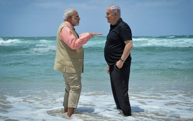 Image result for netanyahu india plage