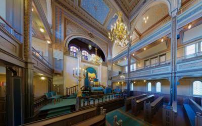 Intérieur de la synagogue de Göteborg (Crédit : Capture d'écran Synagogues 360)