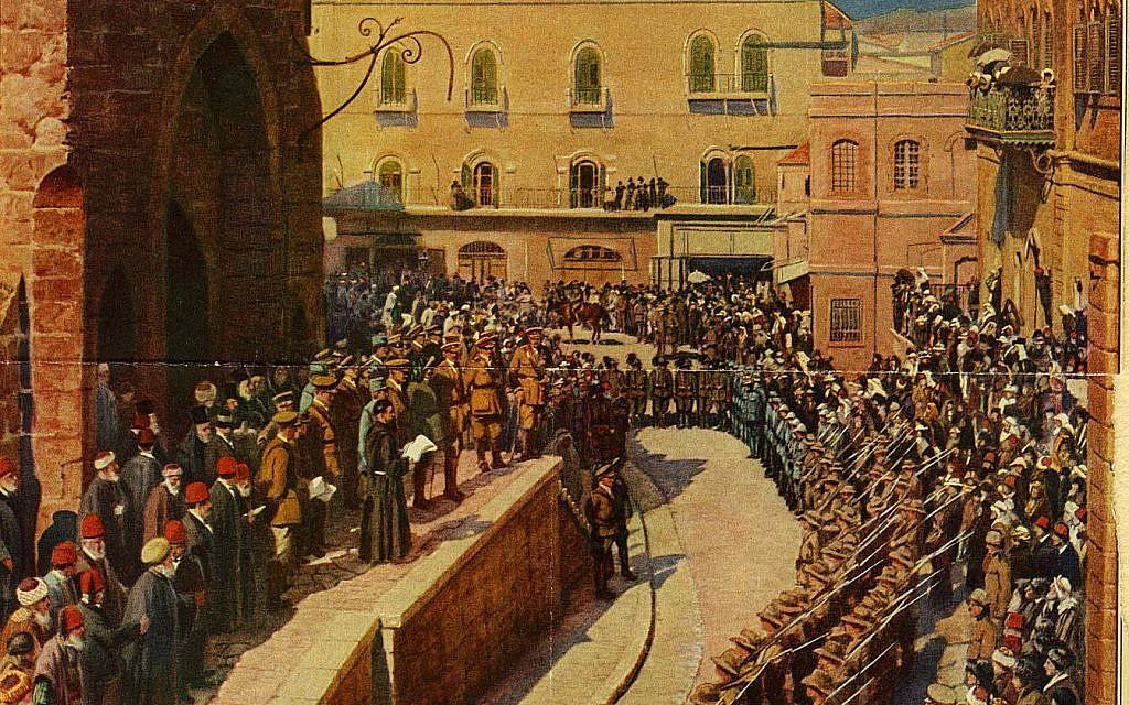 La lecture de la proclamation par le général Allenby sur les escaliers de la tour de David (Autorisation des archives de la tour de David)