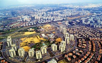 Vue aérienne de Rishon Lezion (Crédit : Wikipedia)