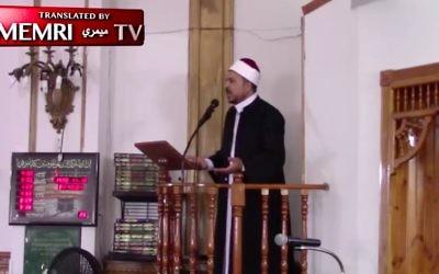 L'imam Aymen Elkasaby donne un sermon au Le Centre Islamique de Jersey City, aux Etats Unis, le 24 novembre (Crédit : Capture d'écran / Memri)