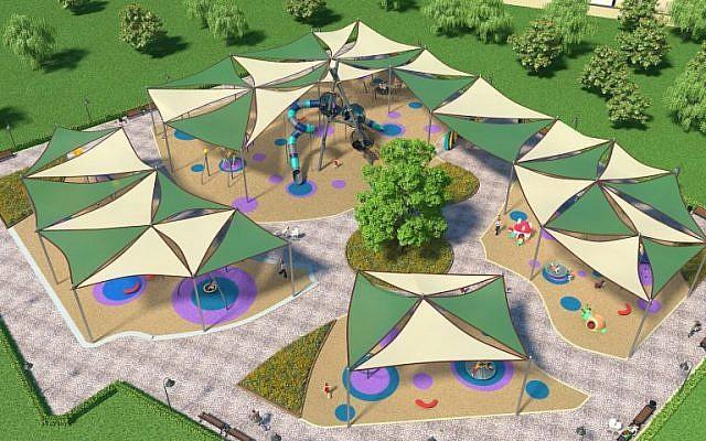 """Représentation graphique du """"parc Donald Trump"""" à  Kiryat Yam (Crédit : Kiryat Yam)"""