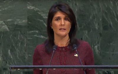 Nikki Haley à l'Assemblée générale, le 21 décembre 2017 (Crédit : capture d'écran ONU)