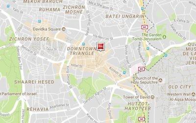 Emplacement du nouvel Ibis Red à Jérusalem, rejoint dans quelques mois à Jérusalem par un deuxième hôtel de la même chaîne (Crédit: capture d'écran Accor Hotels)