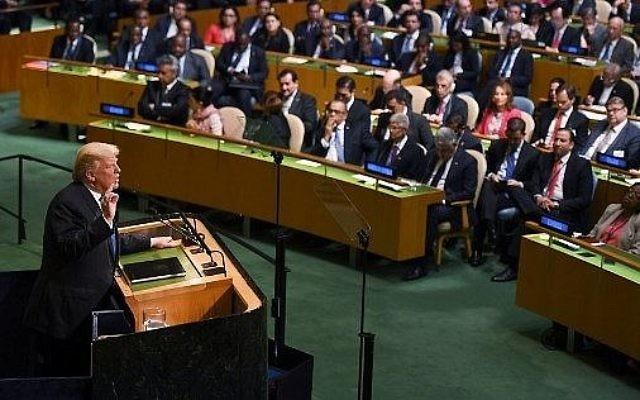 Le président américain Donald Trump lors de la 72ème Assemblée générale de l'ONU à New York, le 19 septembre 2017 (Crédit :  AFP PHOTO / DON EMMERT)