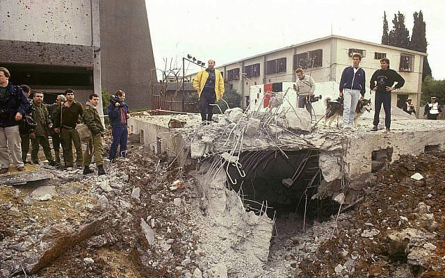 La destruction causée par un missile Scud irakien qui a frappé la «Maison Danny» dans le quartier Hatikva de Tel Aviv en janvier 1991. (Bamahane /