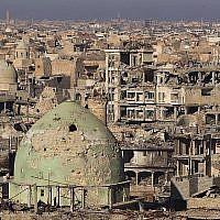 Une vue générale montre la vieille ville de Mossoul, le 8 janvier 2018 (Crédit : AFP PHOTO / AHMAD AL-RUBAYE)