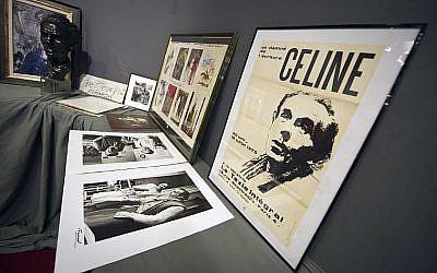 Des affiches et des photos du romancier français Louis-Ferdinand Céline, le 17 juin 2011 (Crédit : AFP / LIONEL BONAVENTURE)