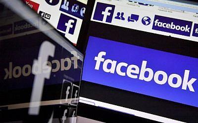 Illustration : Le logo du média social en ligne américain et service de réseautage Facebook. (Crédit : AFP Photo/Loic Venance)