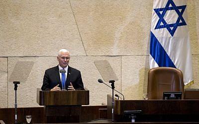 Le vice-président américain Mike Pence, à la Knesset, le 22 janvier 2018. (Crédit : AFP PHOTO / POOL / Ariel Schalit)