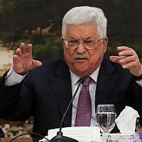 Mahmoud Abbas, président de l'Autorité palestinienne, s'adresse au Comité central de l'OLP à Ramallah, en Cisjordanie, le 14 janvier 2018 (Flash90)