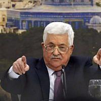 Le président de l'Autorité palestinienne, Mahmoud Abbas, s'exprime lors d'une réunion à Ramallah, en Cisjordanie, le 14 janvier 2018 (AFP PHOTO / ABBAS MOMANI)