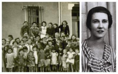 A gauche: Les enfants et le personnel de la Maison Saint-Christophe (orphelinat de Saint-Christophe) pendant la Seconde Guerre mondiale; Mary Elmes, qui a secrètement amené des enfants juifs à être sauvés d'Auschwitz. (Courtoisie Midas Films)