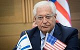 L'ambassadeur américain en Israël David Friedman assiste à une réunion du lobby pour les relations israélo-américaines à la Knesset, le 25 juillet 2017 (Yonatan Sindel / Flash90)