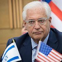 L'ambassadeur américain en Israël David Friedman assiste à une réunion du lobby pour les relations israélo-américaines à la Knesset, le 25 juillet 2017. (Yonatan Sindel / Flash90)