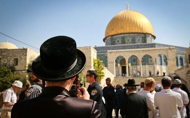 Des Juifs visitent le mont du Temple, site accueillant la mosquée Al-Aqsa et le Dôme du Rocher dans la Vieille Ville de Jérusalem durant la fête de Soukkot, le 8 octobre 2017 (Crédit : Yaakov Lederman/Flash90)