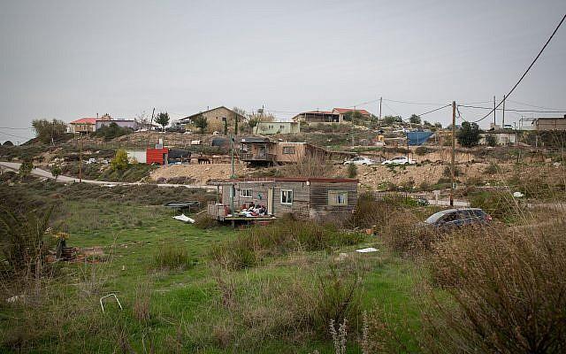 Photo de l'avant-poste de Havat Gilad en Cisjordanie, le 10 janvier 2018 (Miriam Alster / Flash90)