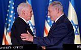 Le vice président américain Mike Pence et le Premier ministre  Benjamin Netanyahu à la résidence du Premier ministre de Jérusalem, le 22 janvier 2018 (Crédit :  Avi Ohayon/GPO)