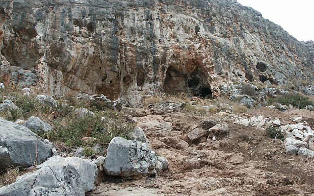 La grotte de Misliya, où une mâchoire entière avec ses dents ont été récemment retrouvés. L'os maxillaire daterait d'il y a 177 000 à 194 000 ans (Crédit Mina Weinstein-Evron, Université de Haïfa)