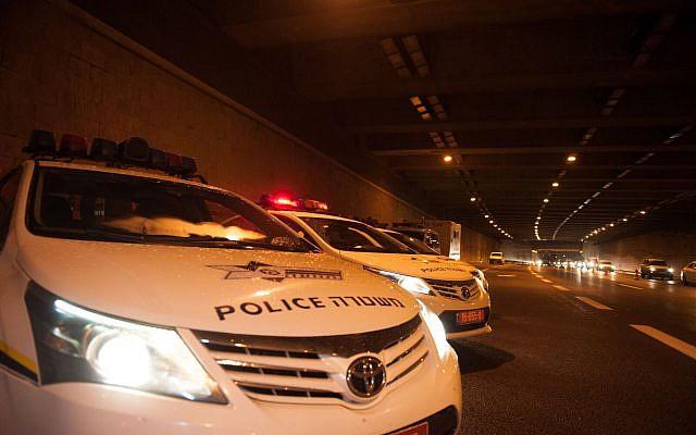 Photo illustrative de voitures de patrouille de la police, le 31 décembre 2017. (Police israélienne)