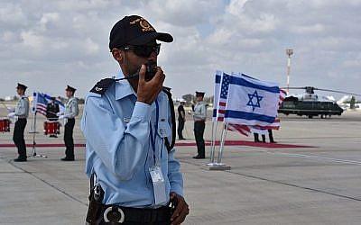 Cette photo diffusée le 21 janvier 2018 montre les préparatifs par la police israélienne en amont de la visite de deux jours du vice-président américain Mike Pence dans le pays, qui se déroulera majoritairement à Jérusalem (Crédit : Police israélienne)