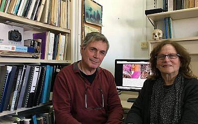Le professeur de l'université de Tel Aviv Israel Hershkovitz , à gauche, et la professeure de l'université de Haïfa  Mina Weinstein-Evron. (Autorisation)