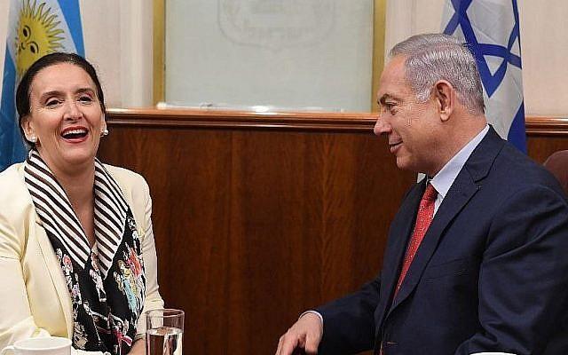 Le Premier ministre Benjamin Netanyahu rencontre la vice-présidente argentine  Gabriela Michetti à Jérusalem le 10 janvier 2018 (Crédit : GPO/Kobi Gideon)