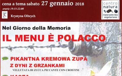 Le menu polonais d'un restaurant de Bologne, en Italie, à l'occasion de la Journée internationale de commémoration de la Shoah. (Crédit : capture d'écran du site Centro Natura via JTA)