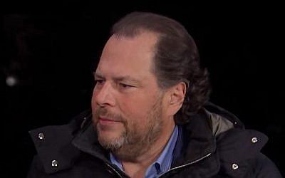Le PDG de Salesforce, Marc Benioff, sur CNBC, le 23 janvier 2018. (Capture d'écran de CNBC)