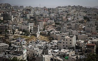 Vue du quartier arabe de Silwan, à Jérusalem-Est, le 27 mai 2015. (Nati Shohat / Flash90)