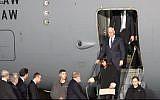 Mike Pence arrive en Israël, le 21 janvier 2018. (Capture d'écran: Ambassade américaine)