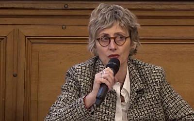 Nathalie Zajde en décembre 2017 lors d'une conférence sur la mémoire organisée par l'ECUJE (Crédit: capture d'écran Youtube/Ecuje)