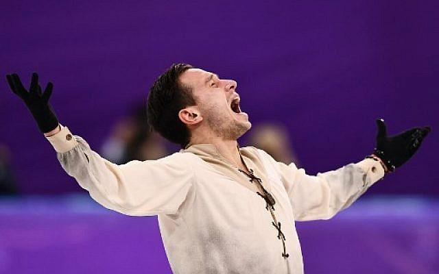 L'Israélien Alexei Bychenko lors du programme libre de patinage artistique dans l'épreuve masculine en solo,  au cours des Jeux Olympiques d'hiver 2018 de Pyeongchang à Gangneung, le 17 février 2018 (Crédit : / AFP PHOTO / ARIS MESSINIS)