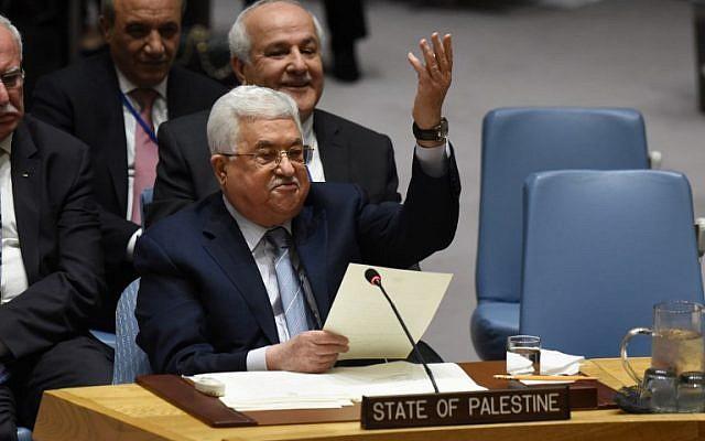 Le président de l'Autorité palestinienne Mahmoud Abbas devant le Conseil de sécurité de l'ONU, le 20 février 2018 (Crédit: AFP Photo/Timothy A. Clary)