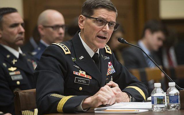 Le général de l'armée américaine Joseph Votel, commandant du Commandement central des États-Unis, témoigne lors d'une audience de la House Armed Services Committee au Capitole à Washington, DC, le 27 février 2018. (AFP/SAUL LOEB)