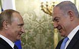 Le président russe Vladimir Poutine (G) accueille le Premier ministre Benjamin Netanyahu lors d'une réunion au Kremlin à Moscou le 7 juin 2016. (AFP Photo/Pool/Maxim Shipenkov)