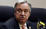 Le secrétaire général de l'ONU Antonio Guterres prend la parole lors d'une conférence de presse à Addis-Abeba le 28 janvier 2018. (AFP/ SIMON MAINA)