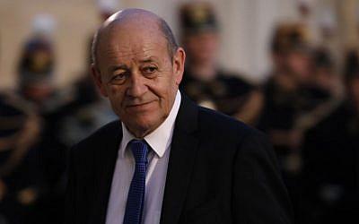 Jean-Yves Le Drian, ministre français des Affaires étrangères, le 30 janvier 2018. (Crédit : AFP / Ludovic MARIN)
