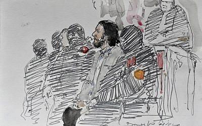 Esquisse de la salle d'audience le 5 février 2018, au Palais de Justice de Bruxelles, où comparait Salah Abdeslam, auteur présumé des attentats du Bataclan. (Crédit : AFP / Benoit PEYRUCQ)