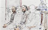 Esquisse de la salle d'audience le 5 février 2018, au Palais de Justice de Bruxelles, où comparaissent Salah Abdeslam et son complice Sofiane Ayari (deuxième à partir de la gauche). (Crédit : Benoit PEYRUCQ / AFP)