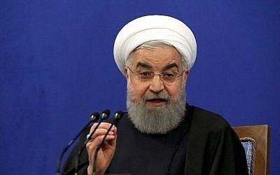 Le président iranien Hassan Rouhani prend la parole lors d'une conférence de presse à Téhéran le 6 février 2018 (ATTA KENARE/AFP)