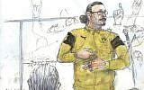 Esquisse du 26 janvier 2018, représentant Jawad Bendaoud à la barre durant son procès pour recel de malfaiteurs, lors des attentats de Paris en novembre 2015.. (Crédit : AFP / Benoit PEYRUCQ )