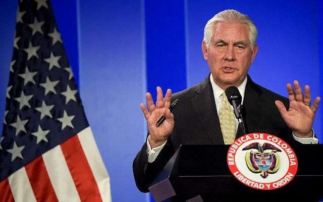 Le secrétaire d'État américain Rex Tillerson à Bogota,le 6 février 2018. (Crédit : Raul ARBOLEDA