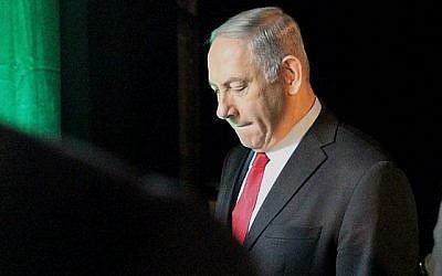 Benjamin Netanyahu à Tel Aviv, le 14 février 2018 (Crédit : AFP/Jack Guez)