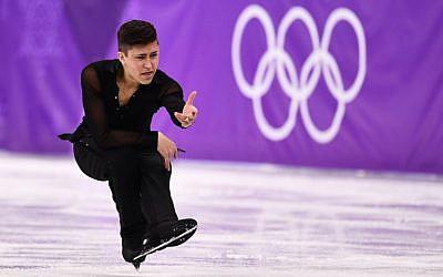 L'israélien Daniel Samohin participe au programme de patinage artistique masculin de l'épreuve de patinage artistique lors des Jeux olympiques d'hiver de 2018 à Pyeongchang, le 16 février 2018. (AFP / Aris Messinis)
