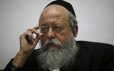 Le député Menachem Eliezer Mozes du parti Yahadut HaTorah, dossier (Miriam Alster/Flash90)
