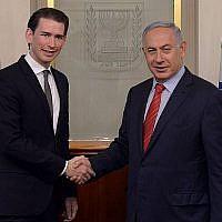 Le Premier ministre Benjamin Netanyahu rencontre le ministre autrichien de l'époque, Sebastian Kurz à Jérusalem, le 16 mai 2016. (Kobi Gideon/GPO)