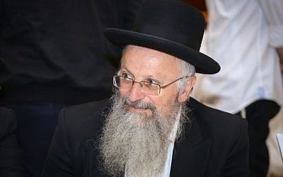 Le grand rabbin de Safed Shmuel Eliyahu à Jérusalem, 24 mai 2017. (Shlomi Cohen/Flash90)