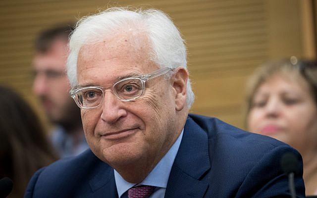 L'ambassadeur américain en Israël David Friedman assiste à la réunion pour les relations israélo-américaines à la Knesset le 25 juillet 2017. (Yonatan Sindel/Flash90)